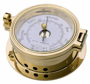 BRASS BAROMETER, ROYAL MARINER 116mm, CAST AND POLISHED BRASS #C622R