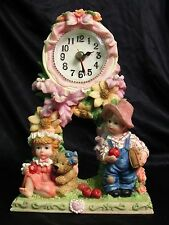 Boy Girl with Apples Teddy and Flowers Resin Functional Mantle Clock AA Battery