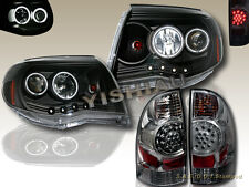 05-08 TOYOTA TACOMA 2X CCFL HALO BLK PROJECTOR HEADLIGHTS & LED TAIL LIGHTS SMK
