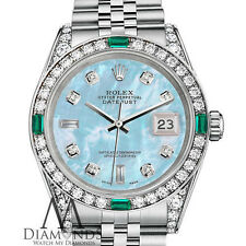 Women's Rolex Datejust 31mm Steel Baby Blue MOP Emerald Diamond Dial Watch