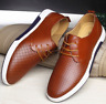 British Men Casual Genuine Leather Shoes Lace-up Sneakers Breathable Shoes