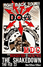 "D.O.A. / MDC / BOXCUTTER ""FIGHT BACK TOUR"" 2017 BELLINGHAM,WASH CONCERT POSTER"