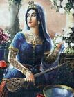 VINTAGE Persian Empire Woman Figure Tapestry for Hanging or Frame