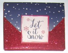 Let It Snow Red Glitter Gift Card/Money Holder/Gift Box