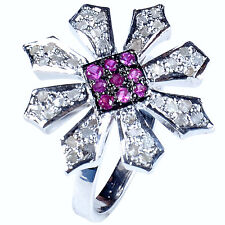 0.97+ct RAW WHITE NATURAL DIAMOND & MULTI COLOR .925 STERLING SILVER RING SIZE 7