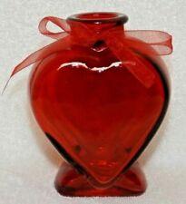 "Valentines Day Red Heart Shaped Glass Bottle Vase 5"" Valentine Gift Corazon"