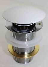WHITE MATTE 32mm Plug and Washer POP UP Waste MODERN NEW Domed Polished DOMED