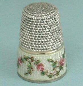 Antique Rose Garlands Enameled Band Silver Thimble * Germany * Circa 1900