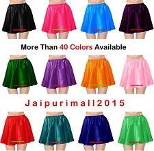 Women Girl Satin Short Mini Skirt Belly Dance Club Pleated Retro High Waist Jupe