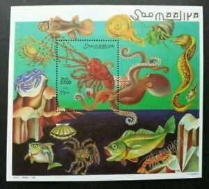 [SJ] Somalia Marine Life 1998 Ocean Fish Shell Octopus Crab Lobster (ms) MNH