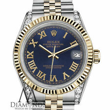Rolex 31mm Datejust 2 Tone Navy Blue Gold Roman 18K Stainless Steel with Diamond