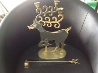 Stag Deer Brass Candlestick Candle Holder & Candle Snuffer - Xmas Table
