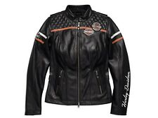 Harley-Davidson Miss Enthusiast EU Damen Leder Jacke Gr. XXL-LADY Schwarz Orange