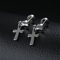 Smooth Cross Silver Black Gold Yellow Gold GP Surgical Stainless Steel Earrings