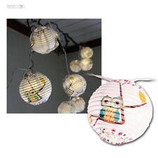 LED-Lampionkette Owl Eule, Batterie Lichterkette mit Eulen, LEDs warmweiß