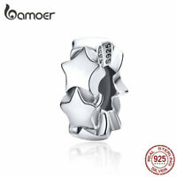 BAMOER Authentic S925 Sterling silver Charm Bead Starry Fit Bracelet Jewelry