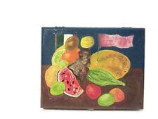 "Freda Kahlo Inspired Painting on Vintage Wooden Trinket Box, ""Still Life"""