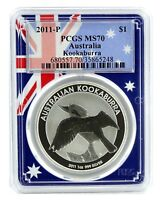 2011 Australia 1oz Silver Kookaburra PCGS MS70 - Flag Frame