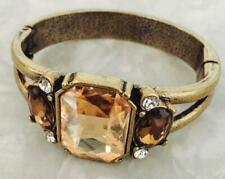 Mid Century Copper Bracelet with Amber Glass Faceted and Rhinestones At Side