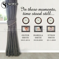 In These Moments Time Stood Still Custom Family Name Time Wall Sticker Decal Art