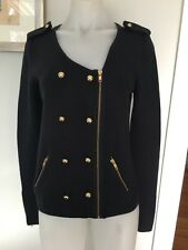 Smart Ann Taylor Navy Military Style Zip Up Knitted Jacket Size S Like New