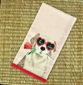 NWT Anthropologie Amy Heitman Puppy Love Valentine Dish Towel