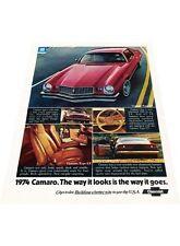 1974 Chevrolet Camaro - Vintage Advertisement Car Print Ad J397