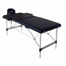 2 Sections Folding Portable Spa Bodybuilding Massage Table Black 186 x 60 x63cm