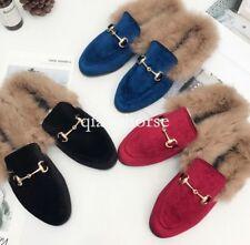 Womens Slip On Metal Backless Slipper Velvet Rabbit Fur Loafer Shoes Loafers hot