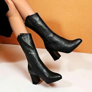 Ladies Punk Snakeskin Print Mid Calf Boots Round Toe Block High Heels Club Shoes