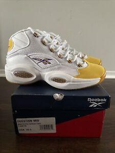 Reebok Question Mid Yellow Toe White Allen Iverson Kobe size 10.5