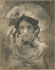 R HENDRICKSON Large Original Photo PORTRAIT VINTAGE WOMAN MILLINERY HAT M433