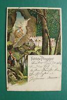 Künstler Litho AK Fröhliche Pfingsten 1901 Zwerg Zwerge Fee Feen nackig Wald ++