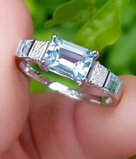 Natural Blue Aquamarine Diamond Solid White 9K Gold Ring Engagement Wedding