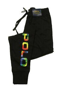 Polo Ralph Lauren Men's Black Tie-Dye Logo Print Sleep Jogger Pants