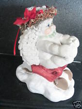 Dreamsicle Angel On Sled In Snow Poinsettias Cmas