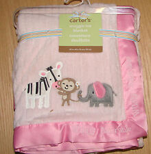 Carter's Snuggle me wildly adorable monkey polyfleece baby blanket NWT