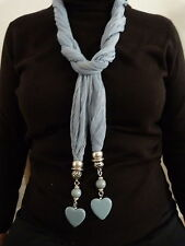 ATTRACTIVE BLUE JEWELLED SCARF WITH HEART JEWEL IN PRESENTATION BOX  52279