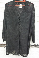 Sz 16 18 taille plus Courbe Sheer overblouse net dentelle steampunk noir Whitby Grunge