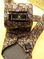 VALERIO GARATI  Iridescent SILK TIE Squares Diamonds Geometric GRAY COPPER  EUC