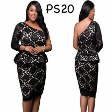Sz 18 20 Black One Shoulder Lace Evening Formal Party Slim Fit Peplum MidiDress