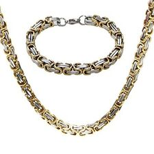 Jewelry Set Two-tone Bracelet and  Necklace Chain Link Christmas Gift Idea