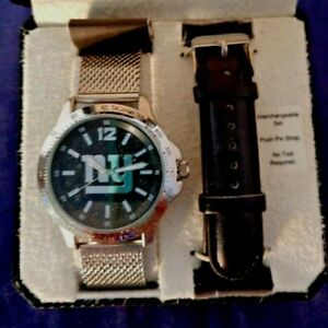 New York Giants Watch Set Silvertone Mesh & Leather Bands Game Time Father's Day