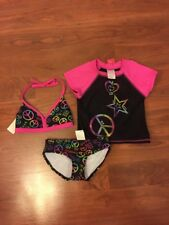 Xhilaration Girl's UPF 50+ 3 Piece Swim Suit Black Pink Mulicolor Sz XS 4-5 New