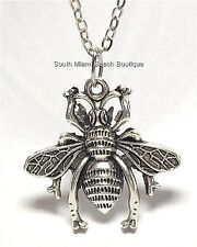 """Insect Queen Bea Plated Usa Seller Silver Bumble Bee Necklace Burnished 18"""""""