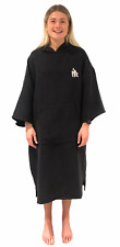 ECO Changing Dry Robe Poncho Beach Swimming Toweling Black Adult and Child