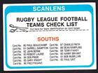 SCANLENS 1979 SOUTHS CHECK LIST UNMARKED