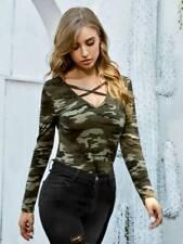 Camo Print Criss Cross Front Wear Top Long Sleeve T Shirt for Pretty Sexy women