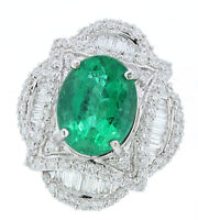 Large Oval Emerald and Diamond Ring 18K White Gold Womens Statement