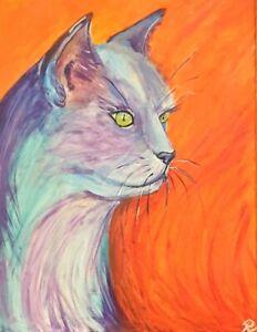 """"""" Abstra- Cat No.4"""" Original Painting- De Martino Art"""